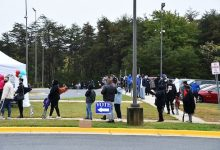 Voters stand in line outside the Suitland Community Center on Oct. 26, the first day of Maryland's early voting period. (Anthony Tilghman/The Washington Informer)