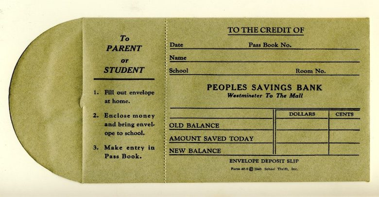 Traditional bank books such as this one from Peoples Savings Bank circa 1970 are true relics of the past. (Courtesy photo)