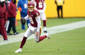Washington Football Team quarterback Kyle Allen threw two touchdowns against the Dallas Cowboys on Oct. 25. (Daniel Kucin, Jr./The Washington Informer)