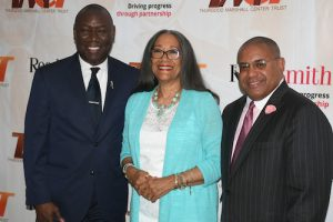 Thomasina W. Yearwood is joined by Benjamin Crump, Esq., (left) and A. Scott Bolden, Esq. (Courtesy of TMCT)