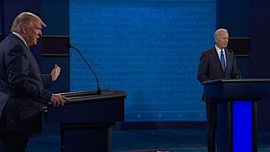 President Trump (left) and Democratic presidential nominee Joe Biden participate in a presidential debate in Nashville, Tennessee, on Oct. 22.