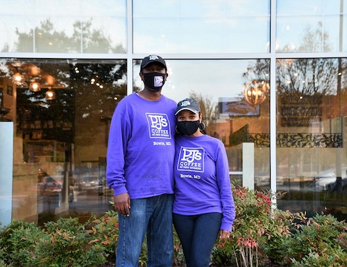 Michael and Tyra Harris pose outside their PJ's Coffee of New Orleans business in Bowie. (Anthony Tilghman/The Washington Informer)