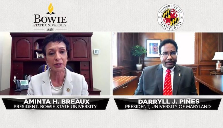 Bowie State University President Aminta H. Breaux and University of Maryland President Darryl J. Pines announce an initiative to promote social justice on both campuses in honor of Lt. Richard Collins III.