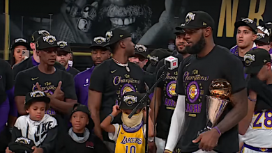 LeBron James and the Los Angeles Lakers celebrate after winning the franchise's 17th championship on Oct. 11.