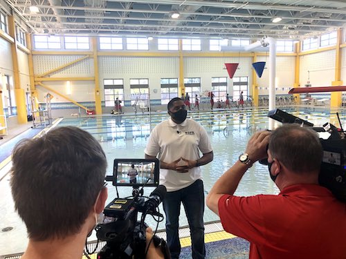 D.C. Department of Parks and Recreation Director Delano Hunter speaks with reporters on Oct. 8 about plans to reopen the city's indoor swimming pools and recreation centers. (Courtesy of DPR via Twitter)