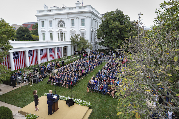 President Donald J. Trump announces Judge Amy Coney Barrett as his nominee for Associate Justice of the Supreme Court of the United States on Sept. 26 in the Rose Garden of the White House. (Official White House photo by Amy Rossetti)