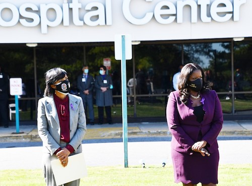 Prince George's County Executive Angela Alsobrooks (left) and county State's Attorney Aisha Braveboy stand outside University of Maryland Prince George's Hospital Center in Cheverly on Oct. 14. (Anthony Tilghman/The Washington Informer)