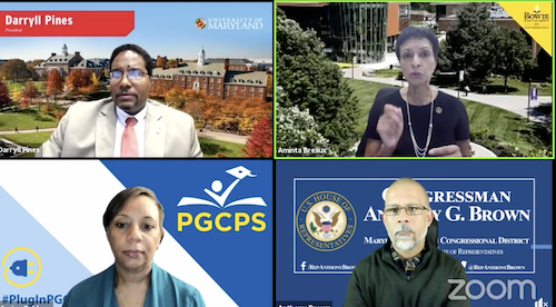 Rep. Anthony G. Brown (D-Md.) held a webinar with Maryland university leaders and Prince George's County Public Schools CEO on Education in a Pandem- ic: Virtual Learning, Preparing for College and Beyond. (Facebook screen grab)