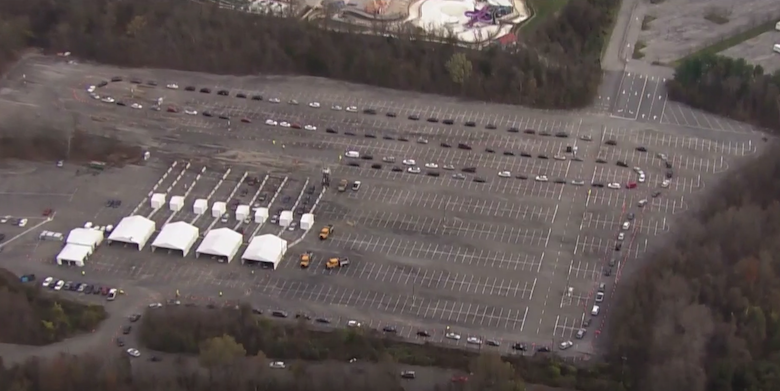 A video from WUSA-TV shows a long line of vehicles awaiting free coronavirus testing at the Six Flags America theme park in Upper Marlboro, Md., on Nov. 18.