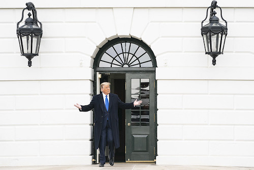 **FILE** President Donald J. Trump greets guests on the South Lawn of the White House Tuesday, Oct. 27, 2020, prior to boarding Marine One en route to Joint Base Andrews, Md. to begin his trip to Michigan, Wisconsin, Nebraska and Nevada. (Official White House Photo by Joyce N. Boghosian)