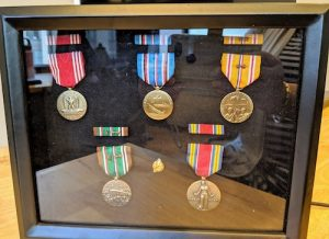 Floyd H. Siler's duplicate medals secured by the office of Senator Chris Van Hollen (D-Md.) were the European-African-Middle Eastern Campaign Medal with two bronze service stars with arrowheads; World War II Victory Medal; Asiatic-Pacific Campaign Medal with 2 bronze stars; American Campaign Medal; Good Conduct Medal; and Honorable Service Lapel Button WWII. Medals were presented to Brenda Siler on July 24, 2019. (Photo courtesy of Brenda C. Siler)