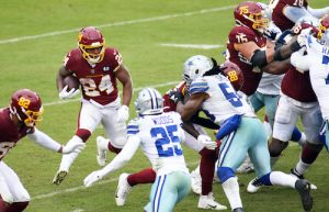 Washington Football Team running back Antonio Gibson rushed for a season-high 128 yards and a touchdown against the Dallas Cowboys on Oct. 25. (Daniel Kucin Jr./The Washington Informer)