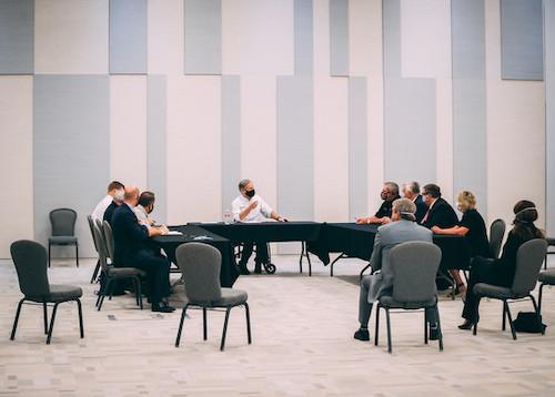**FILE** Texas Go. Greg Abbott (center) speaks during a Sept. 29 press conference. (Courtesy of gov.texas.gov)