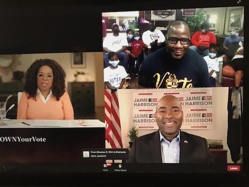"Oprah Winfrey (left), Jaime Harrison (bottom right), a Democrat running for South Carolina Senate, and a South Carolinian barbershop owner and organizer participate in the ""OWN Your Vote"" virtual town hall on Oct. 29."