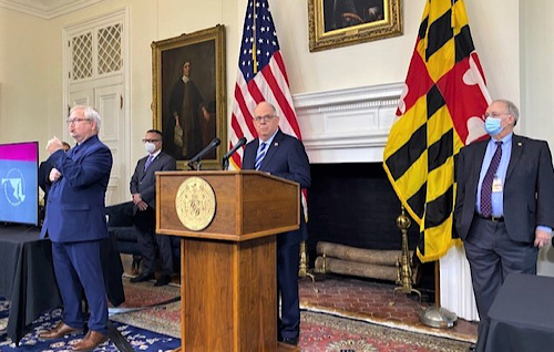 Maryland Gov. Larry Hogan speaks during a Dec. 1 press briefing in Annapolis to give an update of the state response to the coronavirus pandemic. (William J. Ford/The Washington Informer)