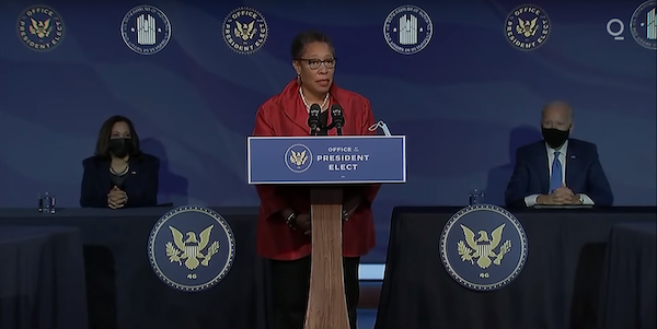 Rep. Marcia Fudge (D-Ohio), President-elect Joe Biden's choice to be housing and urban development secretary, speaks during a press conference to announce several positions in the Biden administration at The Queen theater in Wilmington, Del., on Dec. 11 as Biden (right) and Vice President-elect Kamala Harris listen.