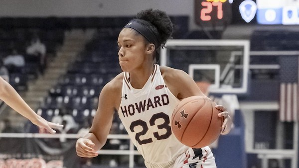Howard Bison guard Jayla Thornton scored a game-high 26 points in an 87-83 home win over Mount St. Mary's on Nov. 30. (Yusuf Abdullah via Howard University)
