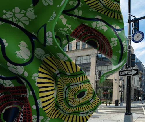 A sculpture by British-Nigerian artist Yinka Shonibare, located outside of the Whitman Walker clinic in northwest D.C. (Screen grab/WhitmanWalker IG)