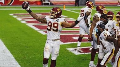 Washington Football Team defensive lineman Chase Young picked up a fumble and returned it 47 yards for a touchdown to take the lead for the first time in the game against the San Francisco 49ers on Dec. 13.