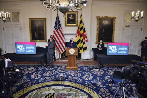 Maryland Gov. Larry Hogan speaks during a Dec. 17 press briefing in Annapolis to give an update on the state response to the coronavirus pandemic. (Courtesy of the governor's office via Twitter)