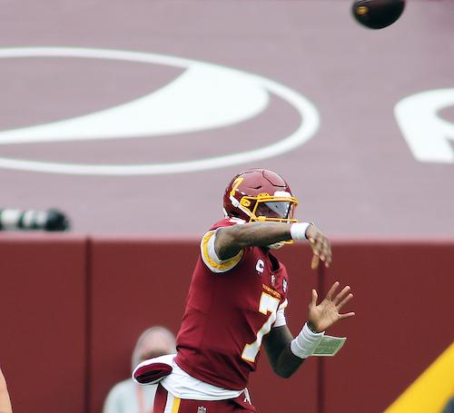 Washington Football Team quarterback Dwayne Haskins makes a throw during an NFL game against the Seattle Seahawks on Dec. 20. (Daniel Kucin Jr./The Washington Informer)