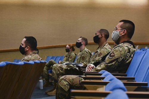 Airmen at Kirtland Air Force Base, N.M., discuss diversity and inclusion issues with Gen. Charles Q. Brown Jr., Air Force chief of staff, via Zoom on Nov. 19. (Photo by Air Force Senior Airman Austin J. Prisbrey)