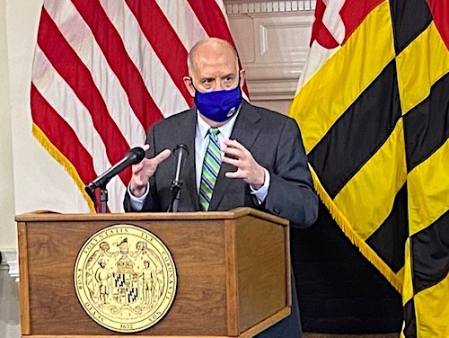 Maryland Gov. Larry Hogan speaks during a Dec. 8 press briefing in Annapolis to give an update on the state response to the coronavirus pandemic. (William J. Ford/The Washington Informer)