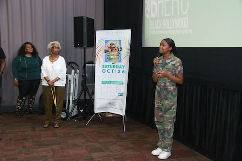 **FILE** Actress Drew Olivia Tillman (right) speaks during the 2019 Youth Diversity Film Festival as Black Hollywood Education and Resource Center founder Sandra J. Evers-Manly (left) and festival director Billie Green look on. (Courtesy of BHERC)