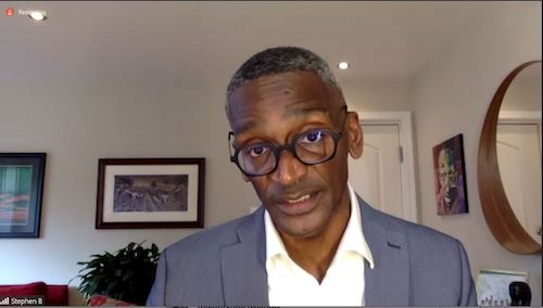 Stephen Bridges of the District offers advice for people living with HIV and how families can offer support during a virtual discussion Nov. 30 on eliminating HIV/AIDS. (Screen grab: Prince George's County Health Department and WUSA9)