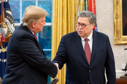 **FILE** President Donald Trump (left) and Attorney General William Barr (Courtesy of the United States Department of Justice)