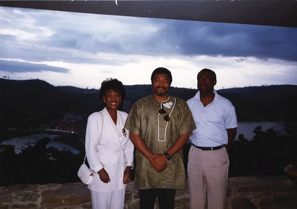 **FILE** From left: Rep. Maxine Waters, Ghanaian President Jerry Rawlings, and Waters' husband Sidney Williams