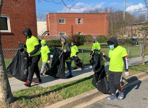 After months of seclusion, a group of middle and high school youth canvassed and cleaned parts of the Anacostia neighborhood as part of a two-week enrichment program. (Courtesy photo)