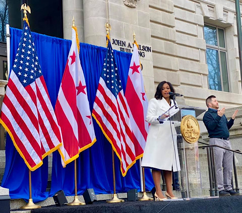 New D.C. Council member Janeese Lewis George speaks during a swearing-in ceremony at the John A. Wilson Building in D.C. on Jan. 2. (Courtesy of D.C. Council)