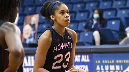 Howard guard Jayla Thornton scored a game-high 21 points in a 73-48 road win over Morgan State on Jan. 2. (Herman Shelton/Howard Athletics Media Relations)