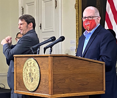 Maryland Gov. Larry Hogan speaks during a Jan. 26 press briefing in Annapolis to give an update on the state response to the coronavirus pandemic. (William J. Ford/The Washington Informer)