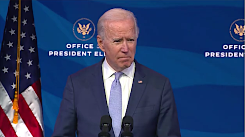 President-elect Joe Biden speaks about the violent protests in Washington from The Queen theater in Wilmington, Del., on Jan. 6.