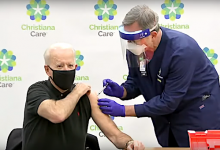 President-elect Joe Biden receives the second dose of a two-shot coronavirus vaccination at a Delaware hospital on Jan. 11
