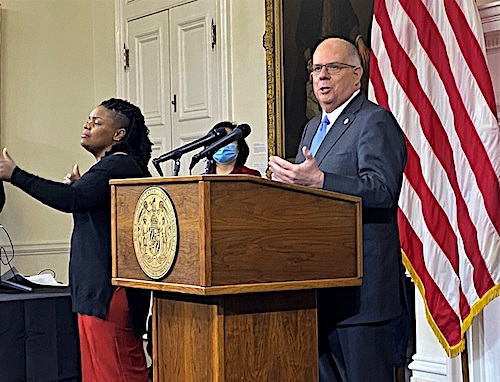 Maryland Gov. Larry Hogan speaks during a Jan. 5 press briefing in Annapolis to give an update on the state response to the coronavirus pandemic. (William J. Ford/The Washington Informer)
