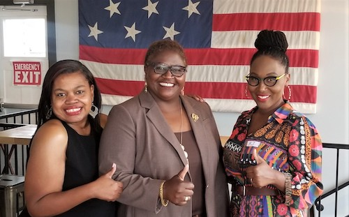 From left: Nicole Bennett, Brenda Thiam and Kyna McKenzie during a Maryland Black Republican Council meet-and-greet on Sept. 24 (Courtesy of Nicole Bennett)