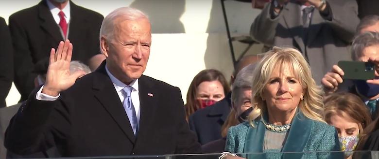 Joe Biden, alongside wife Jill, is sworn in as the 46th president of the United States in Washington on Jan. 20