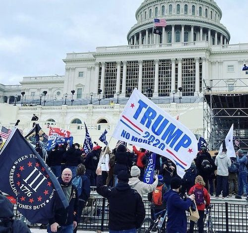Trump supporters gather outside the Capitol on Jan. 6 as Congress prepares to affirm President-elect Joe Biden's victory. (Anthony Tilghman/The Washington Informer)