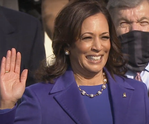 Kamala Harris is sworn in as vice president of the United States during the presidential inauguration at the U.S. Capitol in Washington on Jan. 20.