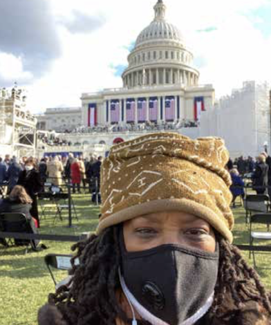 Washington Informer Publisher Denise Rolark Barnes shows the U.S. Capitol from her perspective during the Inauguration of President Joe Biden and Vice President Kamala Harris. (DR Barnes/The Washington Informer)
