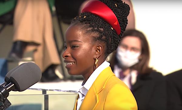 Amanda Gorman reads a poem during the inauguration of President Joe Biden and Vice President Kamala Harris at the U.S. Capitol in Washington on Jan. 20, 2021.