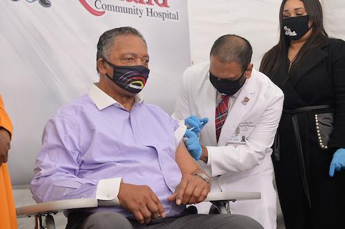 Rev. Jesse L. Jackson Sr. gets the coronavirus vaccine at Roseland Community Hospital in Chicago on Jan. 8. (John L. Alexander via Rainbow PUSH Coalition)