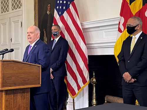 **FILE** Maryland Gov. Larry Hogan speaks during a Jan. 11 press briefing in Annapolis to give an update on the state response to the coronavirus pandemic. (William J. Ford/The Washington Informer)