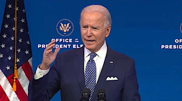 President-elect Joe Biden speaks during an event at The Queen theater in Wilmington, Delaware, on Jan. 7 to announce key nominees for the Justice Department.