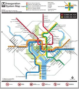 A map showing which Metrorail stations will close for the 2021 presidential inauguration