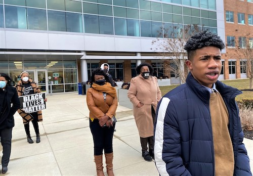 Makal Matthews speaks during a press conference outside the Wayne K. Curry Administration Building in Largo, Maryland, on Feb. 16. (William J. Ford/The Washington Informer)