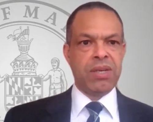 Maryland Sen. Malcolm Augustine gives opening remarks during a session of the state's General Assembly on proposed legislation to provide hazard pay for essential workers during emergencies such as the coronavirus pandemic.